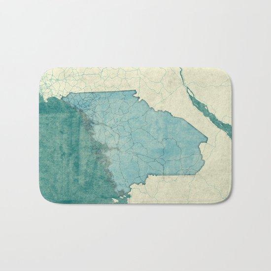 Maine State Map Blue Vintage Bath Mat