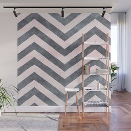 Geometrical mauve gray pink watercolor pattern Wall Mural