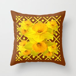 Coffee Brown Pattern of Golden Daffodils Art Throw Pillow
