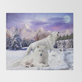 Snow Wolves of the Wilderness Throw Blanket