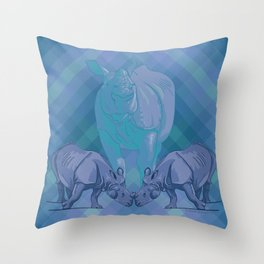 Sporting and Love, Rhinos in Blue Throw Pillow