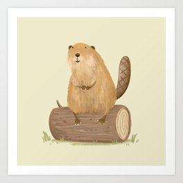 Beaver on a Log Art Print