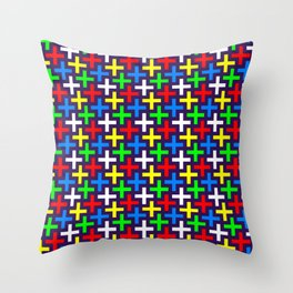 Colorful crosses pattern Throw Pillow