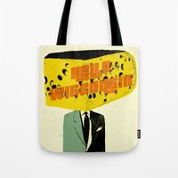 wisconsin Tote Bags featuring Hello Wisconsin by Josh Franke