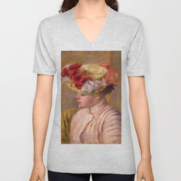 """Auguste Renoir """"Young Woman in a Flowered Hat"""" Unisex V-Neck"""