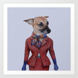 dog in uniform Art Print
