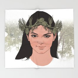 lady of the forest Throw Blanket