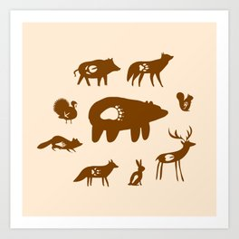 Nature Trail in Coffee and Cream Art Print