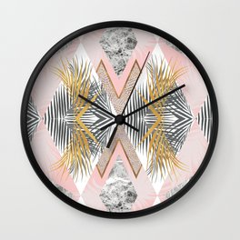 Marbled tropical geometric pattern II Wall Clock