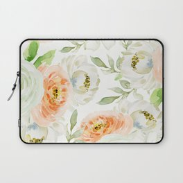 Big Peach and White Flowers Laptop Sleeve
