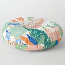 Proteas and Birds of Paradise Painting Floor Pillow