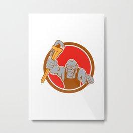 Angry Gorilla Plumber Monkey Wrench Circle Cartoon Metal Print