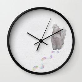 Mama Bear bearing a bear cub Wall Clock
