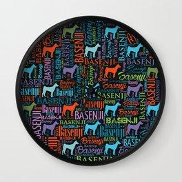 Basenji Word Art pattern Wall Clock