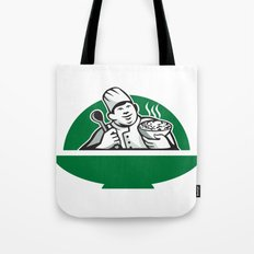 Fat Chef Cook Holding Bowl Spoon Retro Tote Bag