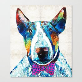 Colorful Bull Terrier Dog Art by Sharon Cummings Canvas Print