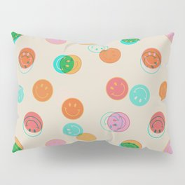 Smiley Face Stamp Print Pillow Sham