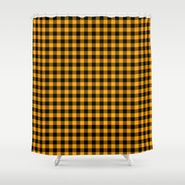 Classic Orange Country Cottage Summer Buffalo Plaid Shower Curtain