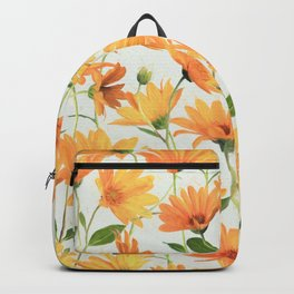 Painted Radiant Orange Daisies on off-white Backpack