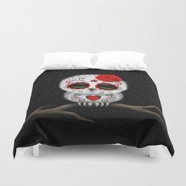 Adorable Red Day of the Dead Sugar Skull Owl Duvet Cover
