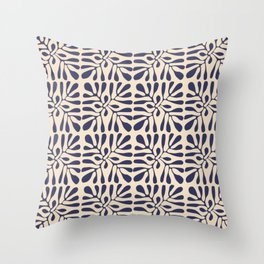 Square leaf pattern in blue Throw Pillow