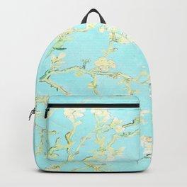 Vincent Van Gogh : almond blossoms Aqua Blue Backpack