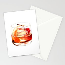 Cocktails. Old Fashioned. Watercolor Painting. Stationery Cards