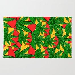Feeling Sunny Rasta Green  ganja pattern, cannabis leafs, red, green, yellow colors Rug