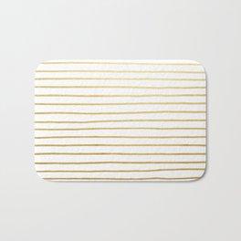 Gold Paris Stripe Pattern Bath Mat