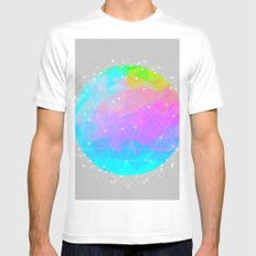 The Dots Will Somehow Connect (Geometric Sphere) White Mens Fitted Tee MEDIUM