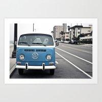 volkswagen Art Prints featuring Volkswagen Bus by somethinghitdom