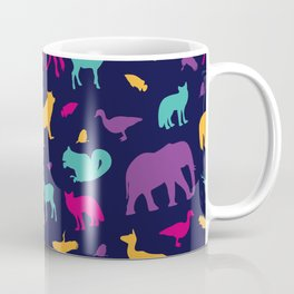 Colorful Wild Animal Silhouette Pattern Coffee Mug