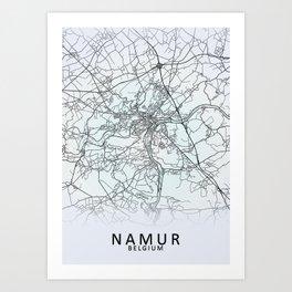 Namur, Belgium, White, City, Map Art Print