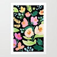 Watercolor Florals on Black Art Print