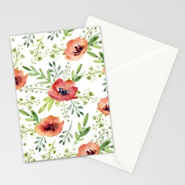 Red bouquet. Watercolor pattern Stationery Cards