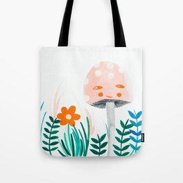 pink mushroom with floral elements Tote Bag