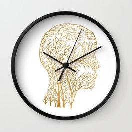 Head Profile Branches - Gold Wall Clock