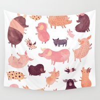 pig Wall Tapestries featuring Pig Pig Pig  by Chuck Groenink