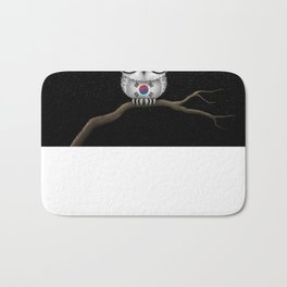 Baby Owl with Glasses and South Korean Flag Bath Mat