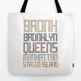 New York City Boroughs Tote Bag