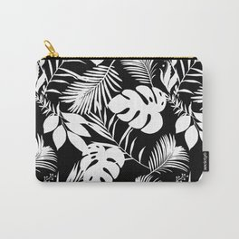 Tropical Monstera And Palm Leaves Black N White Carry-All Pouch
