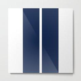 Blue on White Racing Stripes Metal Print
