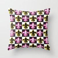 fleur de lis Throw Pillows featuring Fleur de lis pattern by Rceeh