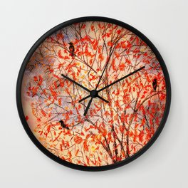 Three Crows in a Tree Wall Clock