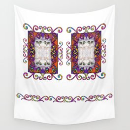 CAT DAMASK ARABESQUE WHITE Wall Tapestry