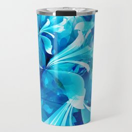 Stylized flowers in blue Travel Mug
