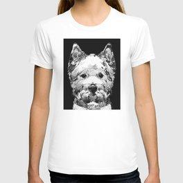 Black And White West Highland Terrier Dog Art Sharon Cummings T-shirt