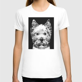 Black And White West Highland Terrier Dog Art Sharon Cummings T-shirt