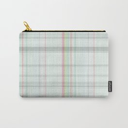 Country chic blush pink pastel green plaid Carry-All Pouch