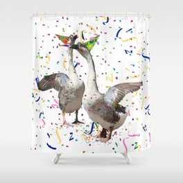 Partying Geese Shower Curtain